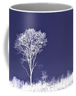White Tree - Blue Sky - Silver Stars Coffee Mug