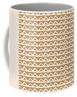 White Triangles On Burlap Coffee Mug