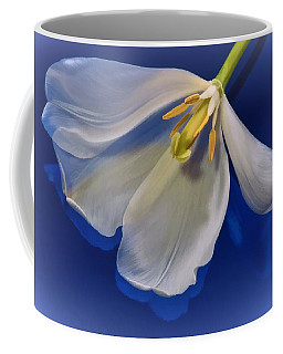 White Tulip On Blue Coffee Mug
