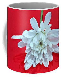 White Flower On Bright Red Background Coffee Mug