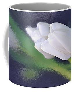 White Tulip Reflected In Dark Blue Water Coffee Mug