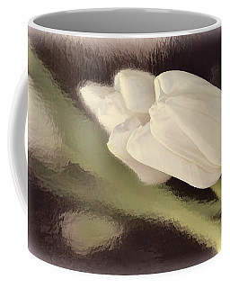 White Tulip Reflected In Misty Water Coffee Mug
