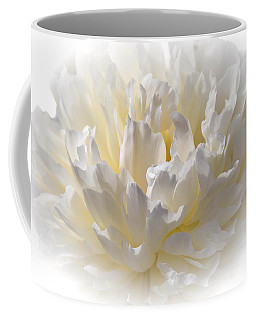 White Peony With A Dash Of Yellow Coffee Mug by Sherman Perry