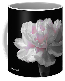 Coffee Mug featuring the digital art White With Pink Carnation by Jeannie Rhode