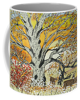 Coffee Mug featuring the painting Whitetails And White Oak Tree by Jeffrey Koss
