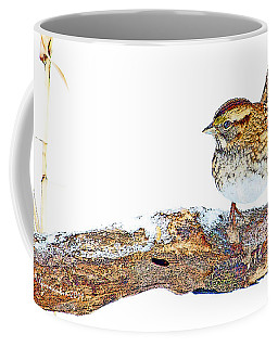 Whitethroated Sparrow On Snow-dusted Tree Branch Digital Art Coffee Mug