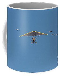 Coffee Mug featuring the photograph Whooping Cranes And Operation Migration Ultralight by Paul Rebmann
