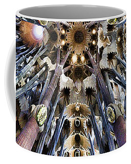 Wide Panorama Of The Interior Ceiling Of Sagrada Familia In Barcelona Coffee Mug by David Smith