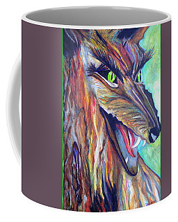 Coffee Mug featuring the drawing Wild Wolf by Daniel Janda