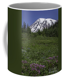 Wildflowers And Mt Rainier Summit Coffee Mug