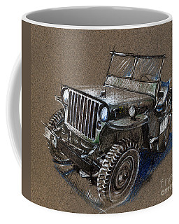 Willys Car Drawing Coffee Mug