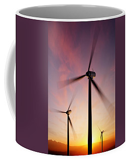 Wind Turbine Blades Spinning At Sunset Coffee Mug