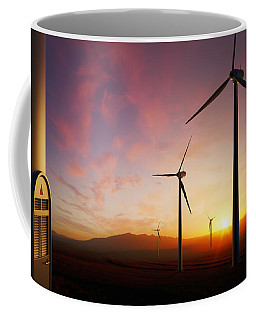 Wind Turbines At Sunset Coffee Mug