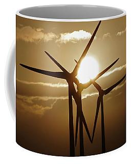 Wind Turbines Silhouette Against A Sunset Coffee Mug