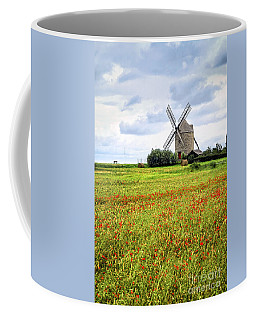 Windmill And Poppy Field In Brittany Coffee Mug