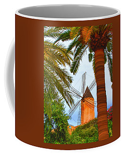 Coffee Mug featuring the painting Windmill In Palma De Mallorca by Deborah Boyd