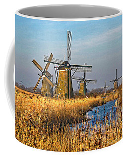 Windmills And Reeds Near Kinderdijk Coffee Mug