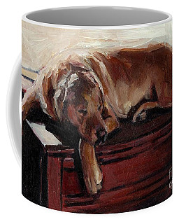 Coffee Mug featuring the painting Window Dresser by Molly Poole