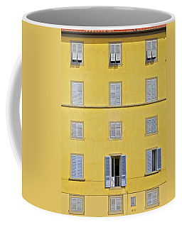 Windows Of Florence Against A Faded Yellow Plaster Wall Coffee Mug