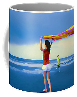 Children Playing On The Beach Coffee Mug