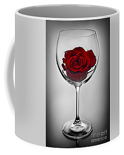 Wine Glass With Rose Coffee Mug