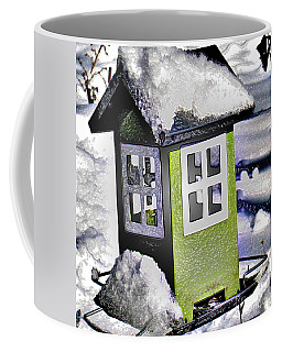 Coffee Mug featuring the photograph Winter Birdfeeder by Nina Silver