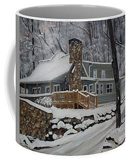 Coffee Mug featuring the painting Winter - Cabin - In The Woods by Jan Dappen
