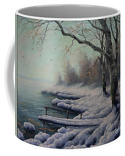 Winter Coming On The Riverside Coffee Mug