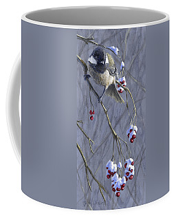 Winter Harvest 1 Chickadee Painting Coffee Mug