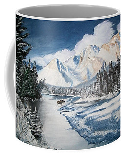 Coffee Mug featuring the painting Winter In The Canadian Rockies by Sharon Duguay