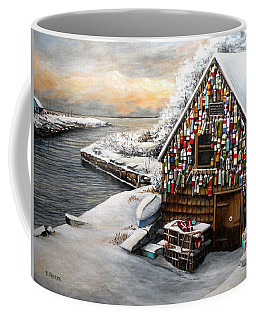 Winter Ipswich Bay Wooden Buoys  Coffee Mug