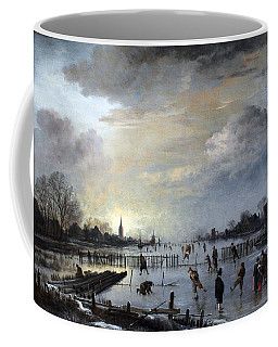 Coffee Mug featuring the painting Winter Landscape With Skaters by Gianfranco Weiss