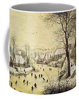 Winter Landscape With Skaters And A Bird Trap Coffee Mug