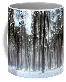 Winter Light In A Forest With Dancing Trees Coffee Mug