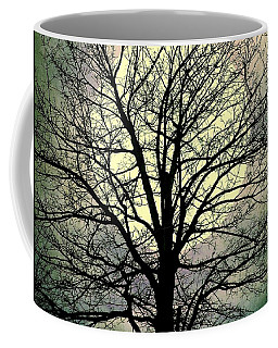Coffee Mug featuring the mixed media Winter Moon Silhouette by Patricia Strand