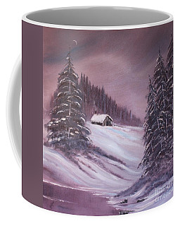 Coffee Mug featuring the painting Winter Moon by Janice Rae Pariza