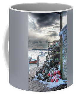 Winter On The Lobster Wharf Coffee Mug
