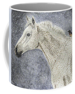 Coffee Mug featuring the painting Winter Rider by Angela Davies