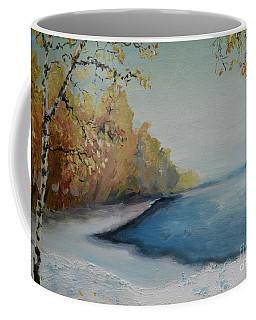 Winter Starts At Kymi River Coffee Mug