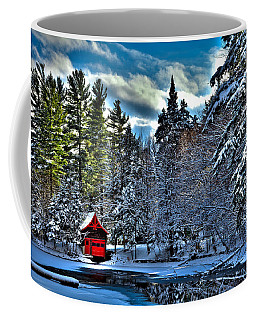 Winter Sun On The Red Boathouse Coffee Mug