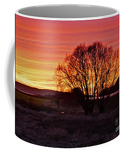 Winter Tree With Red Sky Art Prints Coffee Mug by Valerie Garner