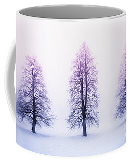 Winter Trees In Fog At Sunrise Coffee Mug