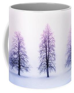 Winter Trees In Fog At Sunrise Coffee Mug