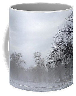 Coffee Mug featuring the photograph Winter Trees With Mist by Jeannie Rhode