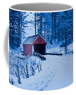 Coffee Mug featuring the photograph winter Vermont covered bridge by Jeff Folger