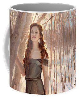 Winter Warmth - Figure In The Landscape Coffee Mug by Karen Whitworth
