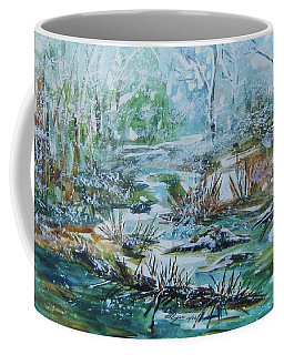 Coffee Mug featuring the painting Winter Whispers On Catskill Creek by Ellen Levinson