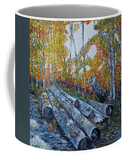 Coffee Mug featuring the painting Winter's Firewood by Marilyn  McNish