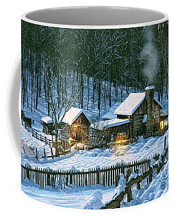 Coffee Mug featuring the digital art Winter's Haven by Mary Almond
