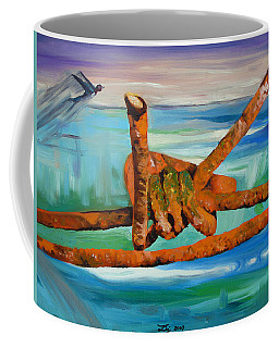 Coffee Mug featuring the painting Wire by Daniel Janda